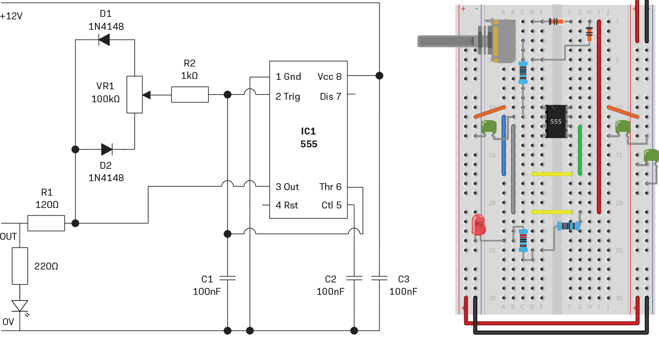 Versatile 555 Timer Pwm Control Diyode Magazine Motor Driver Circuit Diagram In Addition Stepper Schematic