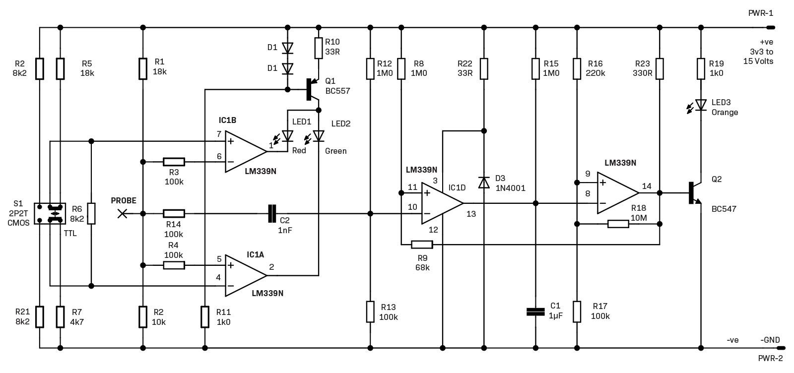 Design And Make The Ubiquitous Logic Probe Diyode Magazine Comparator Circuits Examples Tutorial Circuit Of Its Lm339 Quad Core