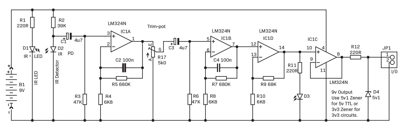 Heartrate Interface For Arduino Diyode Magazine Led Light Circuit Diagram 9v Referring To The Or Schematic Shown Above D1 Is A Generating An Infra Red Spectrum Of That Particularly Good At Lighting Up
