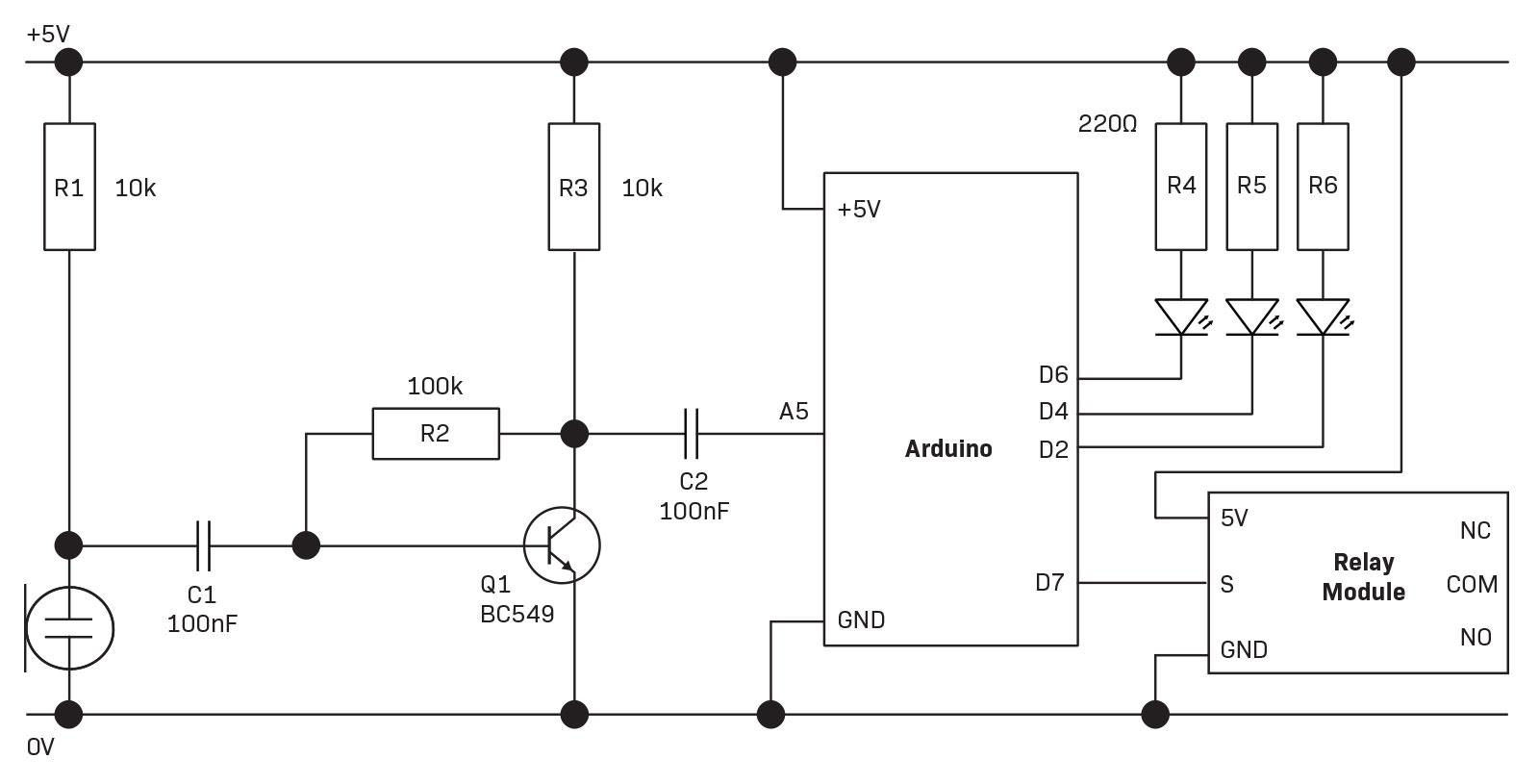 Three Stage Clap Switch Diyode Magazine Here Is A Very Simple Bc549c Transistor Amplifier Circuit Using An Breadboard Diagram