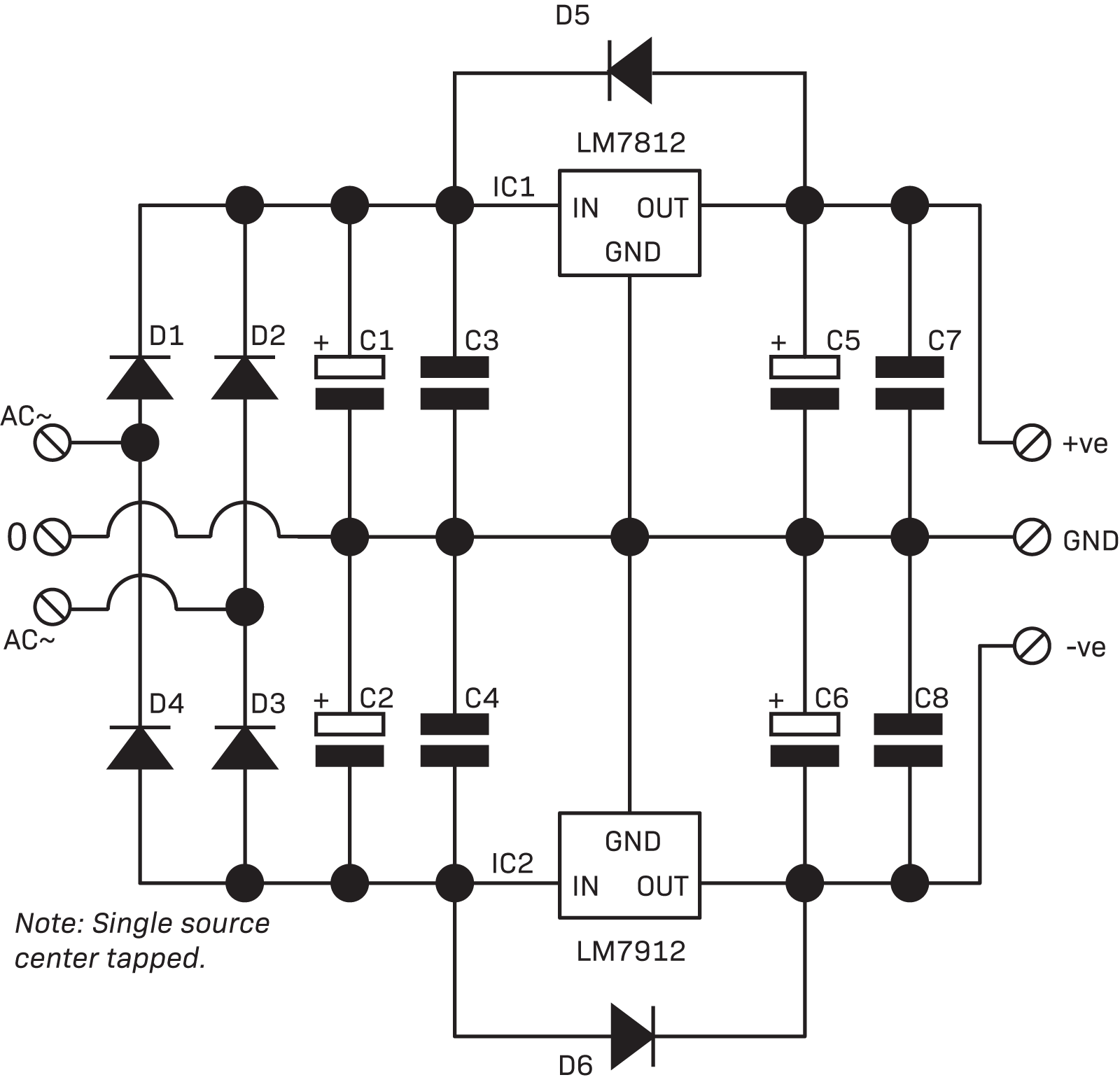 Part 3 The Linear Power Supply Diyode Magazine Symmetrical Regulated Schematic Circuits Supplies Connected Together 2 Circuit Is Useful For Op Amps And Devices Requiring 12vdc
