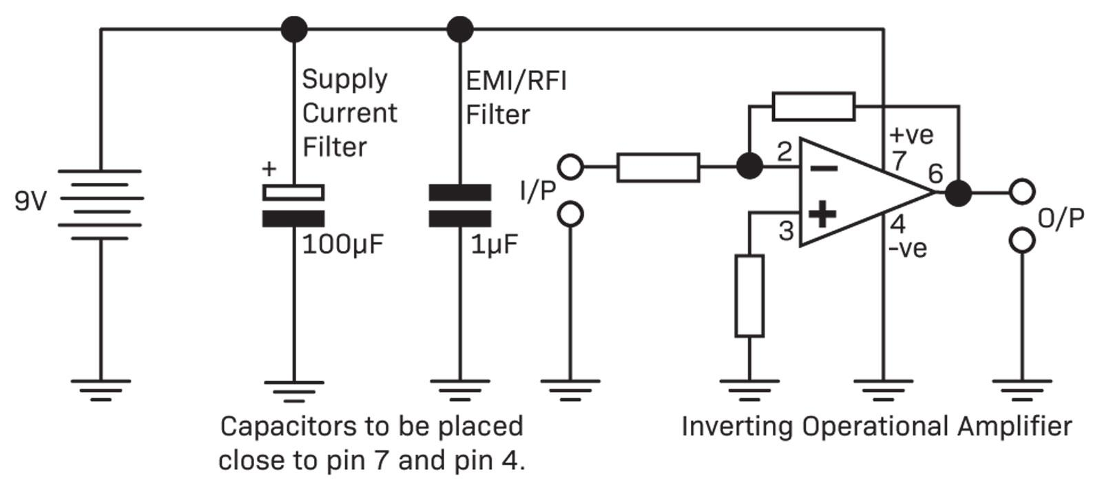 Operational Amplifiers Diyode Magazine Negative To Positive Voltage Supply With Lm741 Usually A Small Electrolytic Will Handle Fluctuating Power Draw Of The Device Itself And Smaller Value Capacitor Might Be Added Bypass Higher
