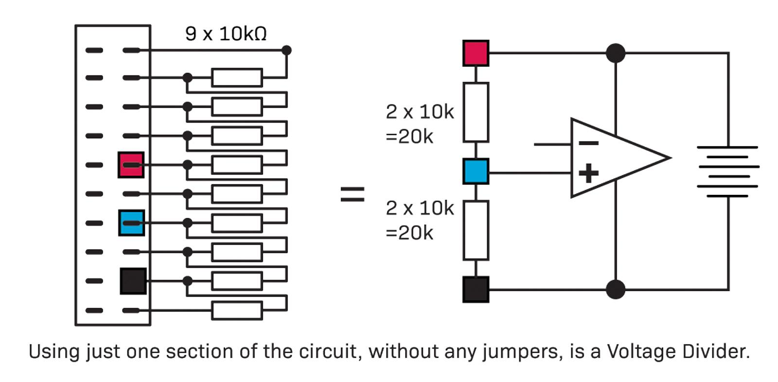 Programmable Resistor Decade Board Diyode Magazine Resistive Voltage Divider Schematic Placing Jumper Wires Across The Two And A Third Between Them To Make An Equal Split Or By Using Resistors On One Side 1 3 So